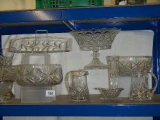 A good mixed lot of cut and other glass bowls, vases, jug, footed bowl etc., 11 items in total.