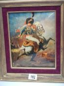 A good concave picture of a soldier on copper in gilt frame.