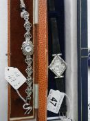 A ladies marcasite wrist watch and an art deco style ladies wrist watch (both working but need
