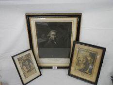 3 antique framed and glazed portraits.
