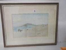 A framed and glazed watercolour by Alice Handcock, 1901, entitled The Island from Porthmeor Bay.