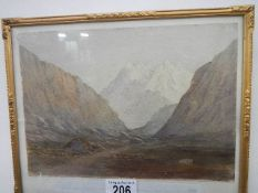 A framed and glazed early 20th century watercolour of Welsh hills with possibly Snowdonia in the