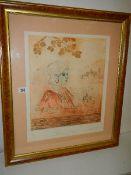 A large framed and glazed print entitled 'Memories of Florence' by J Garrington. 68 x 78 cm.