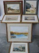 Six watercolour and oil paintings.