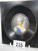 An old oval painted miniature, unsigned.