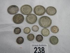 Approximately 102 grams of pre 1947 silver coins.