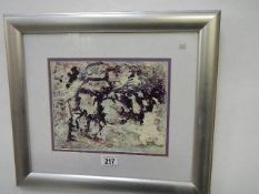 A framed and glazed painting entitled 'Purple and White' by Dorothy Lee Roberts, 1997. 45 x 39 cm.