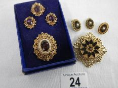 2 good sets of mourning jewellery being pendant (no chain),