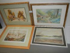 Four good framed and glazed watercolours.