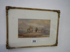 A framed and glazed early 20th century watercolour 'Landing Fish', 35 x 26 cm.