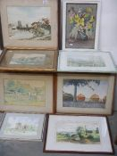 Six framed and glazed watercolours, some signed.