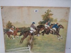 An oil painting on paper mounted on board of a horse race signed J Storrery?, 69 x 51 cm.