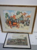 Two good framed and glazed mail coaching prints including a copy of a late 18th century 66 x56 cm