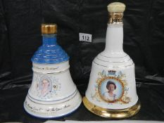 2 Wade commemorative whisky bells with contents for Bell's Whisky - Queen Elizabeth II and The