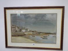 An oil on board painting 'Harbour Beach, St. Ives' by J Sealey, signed and dated 1975. 79 x 57 cm.
