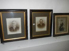 Three framed and glazed early 20th century portraits, 2 x 51 x 63 cm and 1 x 50 x 55 cm.