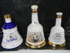 3 Wade Bell's Whisky commemorative bells with content.