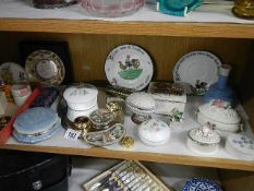 An interesting mixed lot including lidded trinket boxes, plates etc.