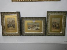 A set of 3 framed and glazed early 20th century prints of Napoleon. 35 x 45 cm.