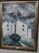A painting on bard of a sailing boat on the dry dock slope, signed Grant, 60 x 76 cm.