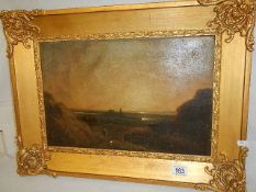 A good oil on board rural scene with figures, unsigned and in need of a clean,