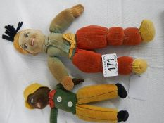 2 Norah Wellings soft toy dolls, early 20th century, approximately 21 cm and 27 cm.