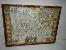 An early framed and glazed map of Oxfordshire, 43 x 56 cm.