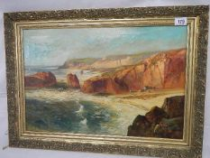 An early 20th century oil on canvas of Kynance Cove, Cornwall, signed but indistinct (see images),