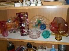 A mixed lot of coloured glass including platters, dishes, vases etc.