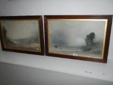 A pair of framed and glazed mid 19th century prints with details verso (see images), 63 x 44 cm.