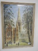 A framed and glazed watercolour of Salisbury Cathedral signed and dated SMAL, 1954. 52 x 72 cm.