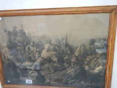 An early 20th century framed and glazed print depicting a slaving scene,