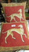 A pair of good quality cushions featuring dogs.