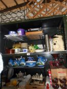 3 shelves of kitchenalia including nut brown rolling pin, Sylvac tea caddy,