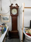 A Victorian oak 30 hour longcase Grandfather clock with round painted face 'Smith Alfreton'