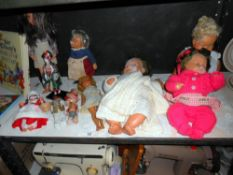 A shelf of vintage dolls including Steiff hedgehog,