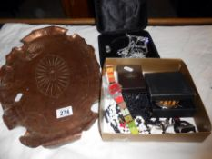 A box of assorted jewellery,