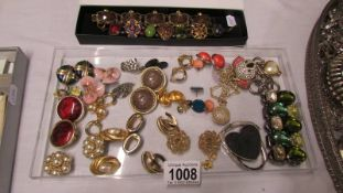 A collection of vintage earrings including Monet, 20 pairs for pierced ears,