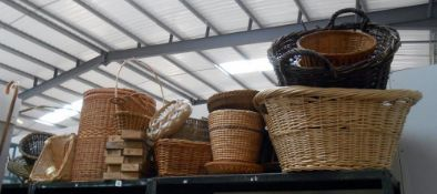 A large lot of wicker baskets and quantity of empty boxes