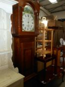 A Victorian oak cased 30 hour longcase Grandfather clock painted arch dial hunting scene W.
