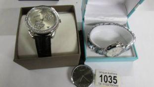 2 DMQ wristwatches and a Pilgrim wrist watch.