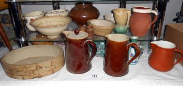 A quantity of various pottery including Denby etc 2 items are a/f