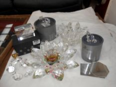 2 glass candle holders in good condition and a quantity of Swarovski,