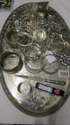 A Viners of Sheffield silver plate tray, a silver bracelet, a silver ring set pink stone,