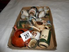 A mix of small china items including Wade, Russian birds etc,