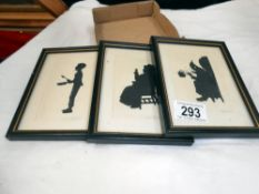 3 Dickens framed and glazed silouhettes, Scrooge,