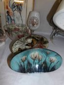 A floral decorated vase, footed bowl and 2 dishes.
