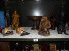 A pottery monkey, 2 novelty decanters (1 missing stopper) brass comport,