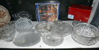 A quantity of moulded glass etc, including cake stand, bowls,