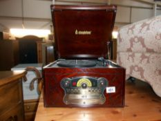 A Steeplelone vintage style radio cd record player (as seen) no leads or speakers